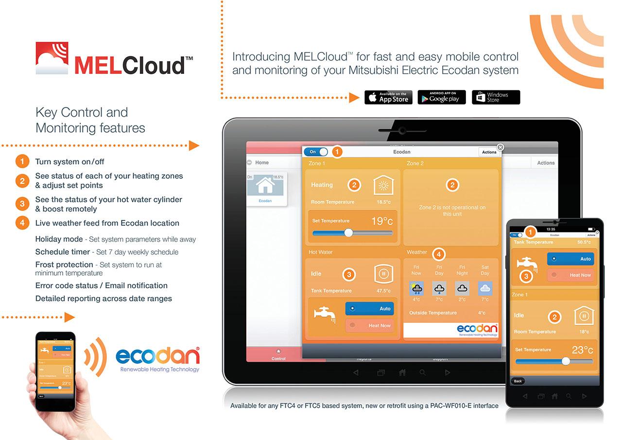 Mitsubishi Ecodan MELCloud Heat Pumps App