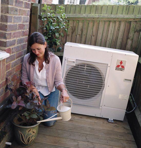 Mitsubishi Ecodan Heat Pump Unit Outside